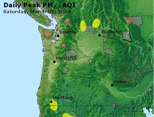 Peak Particles PM<sub>2.5</sub> (24-hour) - http://files.airnowtech.org/airnow/2014/20140308/peak_pm25_wa_or.jpg