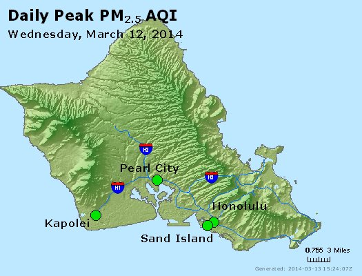 Peak Particles PM<sub>2.5</sub> (24-hour) - http://files.airnowtech.org/airnow/2014/20140312/peak_pm25_honolulu_hi.jpg