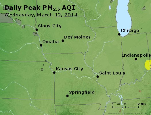 Peak Particles PM<sub>2.5</sub> (24-hour) - http://files.airnowtech.org/airnow/2014/20140312/peak_pm25_ia_il_mo.jpg
