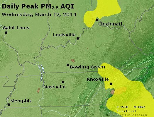 Peak Particles PM<sub>2.5</sub> (24-hour) - http://files.airnowtech.org/airnow/2014/20140312/peak_pm25_ky_tn.jpg