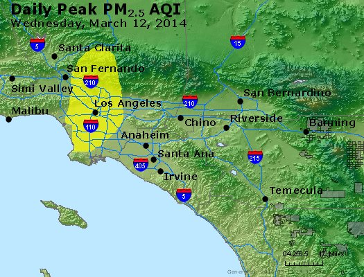 Peak Particles PM<sub>2.5</sub> (24-hour) - http://files.airnowtech.org/airnow/2014/20140312/peak_pm25_losangeles_ca.jpg
