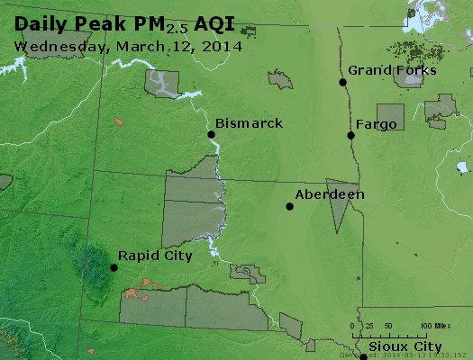 Peak Particles PM<sub>2.5</sub> (24-hour) - http://files.airnowtech.org/airnow/2014/20140312/peak_pm25_nd_sd.jpg