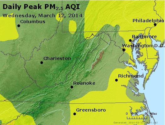 Peak Particles PM<sub>2.5</sub> (24-hour) - http://files.airnowtech.org/airnow/2014/20140312/peak_pm25_va_wv_md_de_dc.jpg