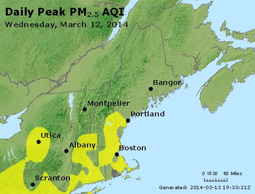 Peak Particles PM<sub>2.5</sub> (24-hour) - http://files.airnowtech.org/airnow/2014/20140312/peak_pm25_vt_nh_ma_ct_ri_me.jpg