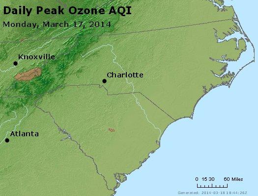 Peak Ozone (8-hour) - http://files.airnowtech.org/airnow/2014/20140317/peak_o3_nc_sc.jpg