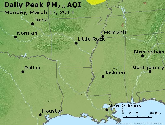 Peak Particles PM<sub>2.5</sub> (24-hour) - http://files.airnowtech.org/airnow/2014/20140317/peak_pm25_ar_la_ms.jpg