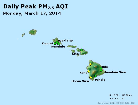 Peak Particles PM<sub>2.5</sub> (24-hour) - http://files.airnowtech.org/airnow/2014/20140317/peak_pm25_hawaii.jpg