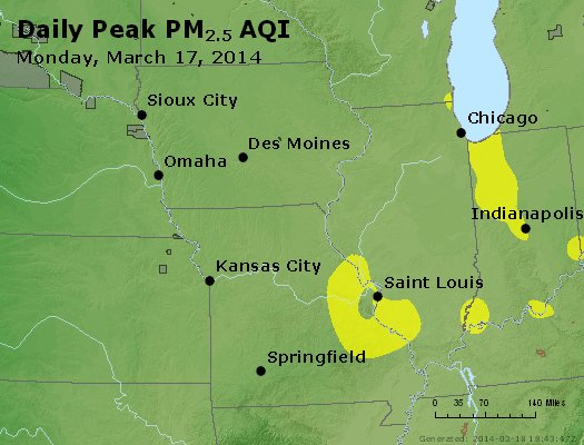 Peak Particles PM<sub>2.5</sub> (24-hour) - http://files.airnowtech.org/airnow/2014/20140317/peak_pm25_ia_il_mo.jpg