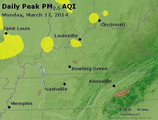 Peak Particles PM<sub>2.5</sub> (24-hour) - http://files.airnowtech.org/airnow/2014/20140317/peak_pm25_ky_tn.jpg