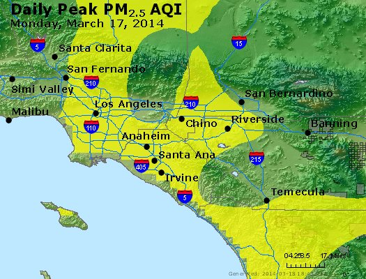 Peak Particles PM<sub>2.5</sub> (24-hour) - http://files.airnowtech.org/airnow/2014/20140317/peak_pm25_losangeles_ca.jpg