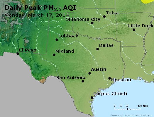 Peak Particles PM<sub>2.5</sub> (24-hour) - http://files.airnowtech.org/airnow/2014/20140317/peak_pm25_tx_ok.jpg