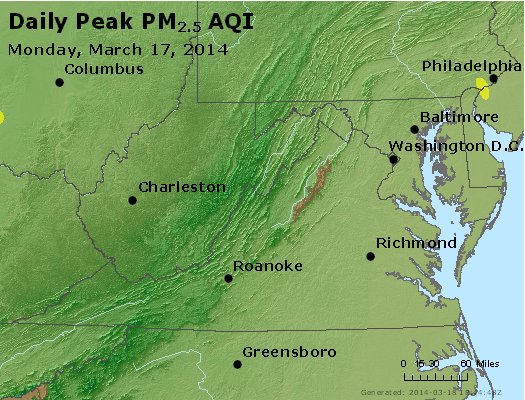 Peak Particles PM<sub>2.5</sub> (24-hour) - http://files.airnowtech.org/airnow/2014/20140317/peak_pm25_va_wv_md_de_dc.jpg