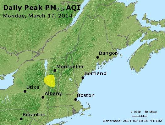 Peak Particles PM<sub>2.5</sub> (24-hour) - http://files.airnowtech.org/airnow/2014/20140317/peak_pm25_vt_nh_ma_ct_ri_me.jpg