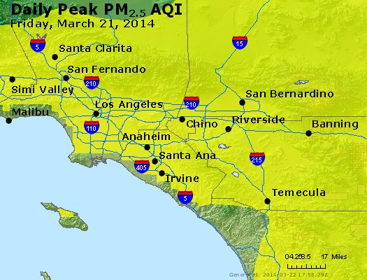 Peak Particles PM<sub>2.5</sub> (24-hour) - http://files.airnowtech.org/airnow/2014/20140321/peak_pm25_losangeles_ca.jpg