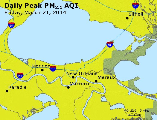 Peak Particles PM<sub>2.5</sub> (24-hour) - http://files.airnowtech.org/airnow/2014/20140321/peak_pm25_neworleans_la.jpg