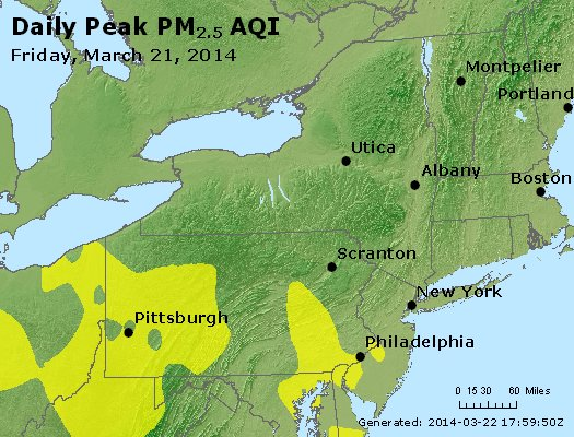 Peak Particles PM<sub>2.5</sub> (24-hour) - http://files.airnowtech.org/airnow/2014/20140321/peak_pm25_ny_pa_nj.jpg