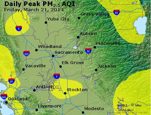 Peak Particles PM<sub>2.5</sub> (24-hour) - http://files.airnowtech.org/airnow/2014/20140321/peak_pm25_sacramento_ca.jpg