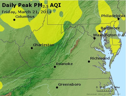 Peak Particles PM<sub>2.5</sub> (24-hour) - http://files.airnowtech.org/airnow/2014/20140321/peak_pm25_va_wv_md_de_dc.jpg