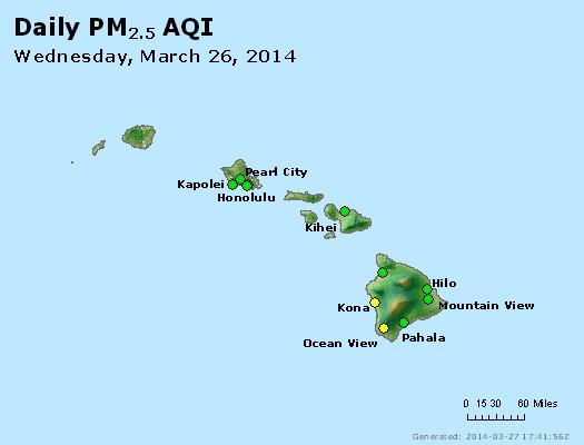 Peak Particles PM<sub>2.5</sub> (24-hour) - http://files.airnowtech.org/airnow/2014/20140326/peak_pm25_hawaii.jpg
