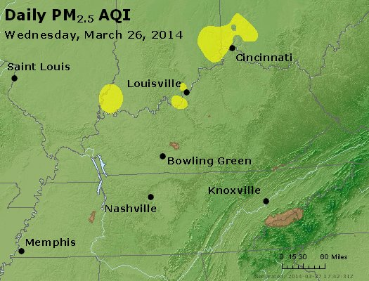 Peak Particles PM<sub>2.5</sub> (24-hour) - http://files.airnowtech.org/airnow/2014/20140326/peak_pm25_ky_tn.jpg