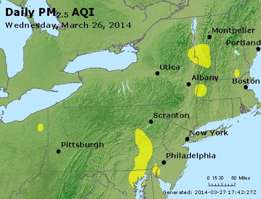 Peak Particles PM<sub>2.5</sub> (24-hour) - http://files.airnowtech.org/airnow/2014/20140326/peak_pm25_ny_pa_nj.jpg