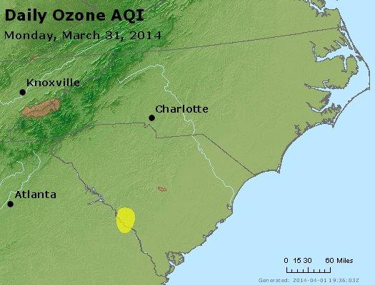 Peak Ozone (8-hour) - http://files.airnowtech.org/airnow/2014/20140331/peak_o3_nc_sc.jpg