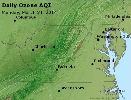 Peak Ozone (8-hour) - http://files.airnowtech.org/airnow/2014/20140331/peak_o3_va_wv_md_de_dc.jpg