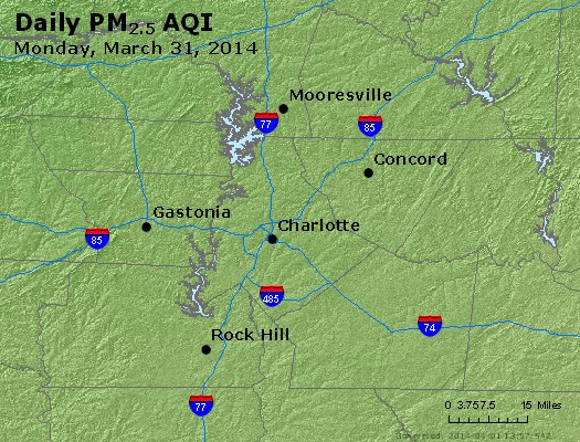 Peak Particles PM<sub>2.5</sub> (24-hour) - http://files.airnowtech.org/airnow/2014/20140331/peak_pm25_charlotte_nc.jpg