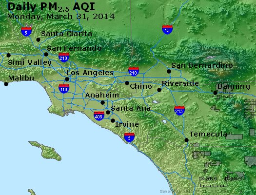 Peak Particles PM<sub>2.5</sub> (24-hour) - http://files.airnowtech.org/airnow/2014/20140331/peak_pm25_losangeles_ca.jpg