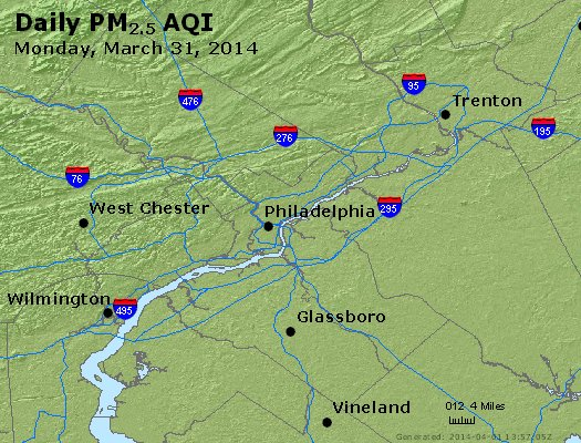 Peak Particles PM<sub>2.5</sub> (24-hour) - http://files.airnowtech.org/airnow/2014/20140331/peak_pm25_philadelphia_pa.jpg