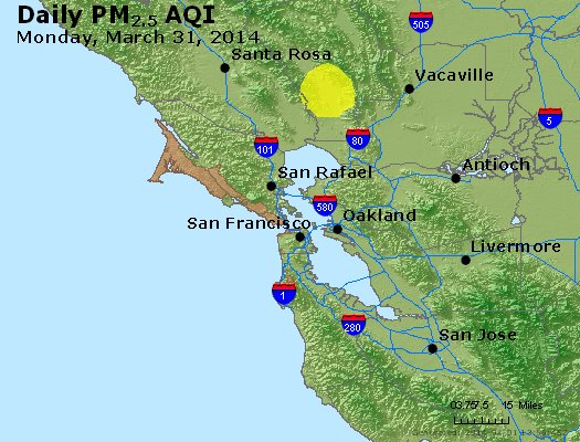 Peak Particles PM<sub>2.5</sub> (24-hour) - http://files.airnowtech.org/airnow/2014/20140331/peak_pm25_sanfrancisco_ca.jpg