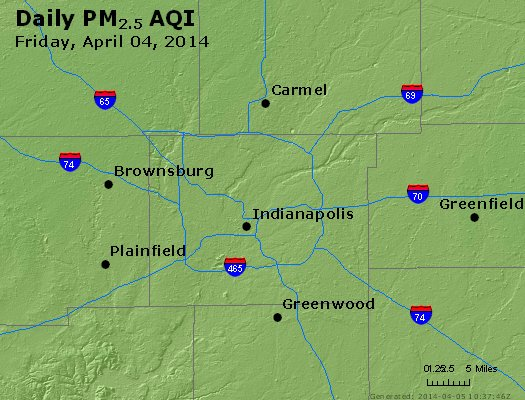 Peak Particles PM<sub>2.5</sub> (24-hour) - http://files.airnowtech.org/airnow/2014/20140404/peak_pm25_indianapolis_in.jpg