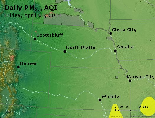 Peak Particles PM<sub>2.5</sub> (24-hour) - http://files.airnowtech.org/airnow/2014/20140404/peak_pm25_ne_ks.jpg