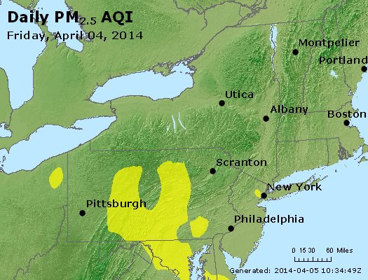 Peak Particles PM<sub>2.5</sub> (24-hour) - http://files.airnowtech.org/airnow/2014/20140404/peak_pm25_ny_pa_nj.jpg