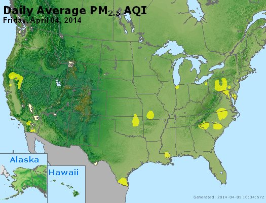 Peak Particles PM<sub>2.5</sub> (24-hour) - http://files.airnowtech.org/airnow/2014/20140404/peak_pm25_usa.jpg