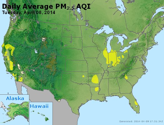 Peak Particles PM<sub>2.5</sub> (24-hour) - http://files.airnowtech.org/airnow/2014/20140408/peak_pm25_usa.jpg