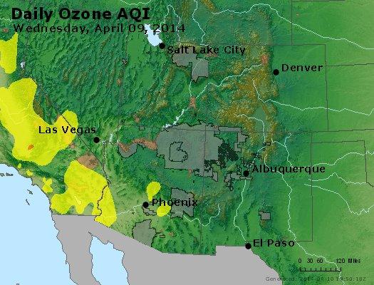 Peak Ozone (8-hour) - http://files.airnowtech.org/airnow/2014/20140409/peak_o3_co_ut_az_nm.jpg
