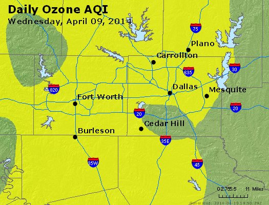 Peak Ozone (8-hour) - http://files.airnowtech.org/airnow/2014/20140409/peak_o3_dallas_tx.jpg