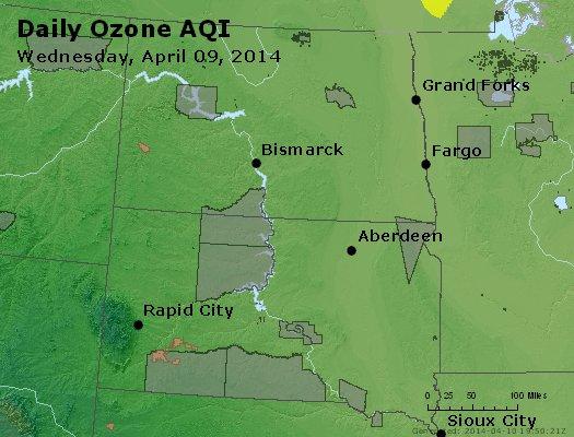 Peak Ozone (8-hour) - http://files.airnowtech.org/airnow/2014/20140409/peak_o3_nd_sd.jpg