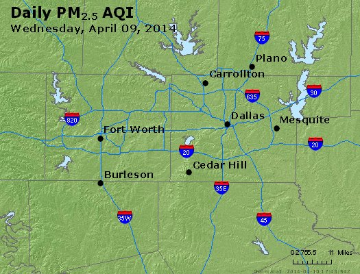 Peak Particles PM<sub>2.5</sub> (24-hour) - http://files.airnowtech.org/airnow/2014/20140409/peak_pm25_dallas_tx.jpg