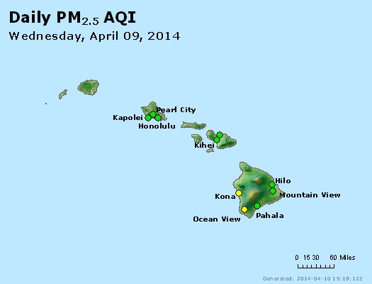 Peak Particles PM<sub>2.5</sub> (24-hour) - http://files.airnowtech.org/airnow/2014/20140409/peak_pm25_hawaii.jpg