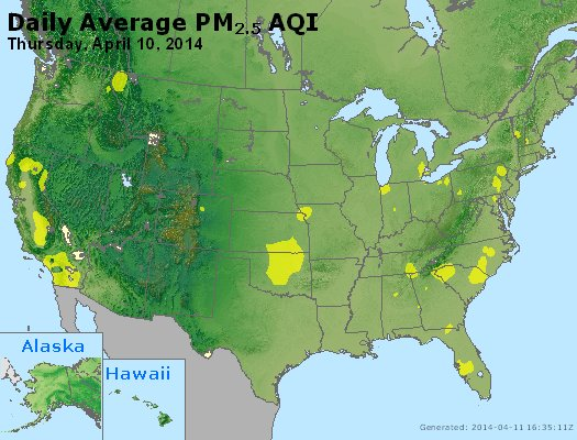Peak Particles PM<sub>2.5</sub> (24-hour) - http://files.airnowtech.org/airnow/2014/20140410/peak_pm25_usa.jpg