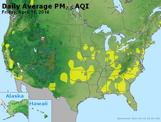Peak Particles PM<sub>2.5</sub> (24-hour) - http://files.airnowtech.org/airnow/2014/20140411/peak_pm25_usa.jpg