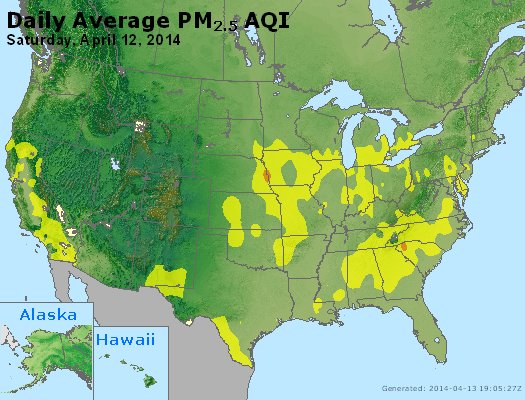 Peak Particles PM<sub>2.5</sub> (24-hour) - http://files.airnowtech.org/airnow/2014/20140412/peak_pm25_usa.jpg