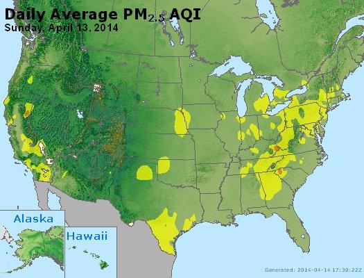 Peak Particles PM<sub>2.5</sub> (24-hour) - http://files.airnowtech.org/airnow/2014/20140413/peak_pm25_usa.jpg