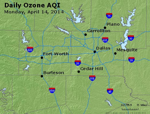 Peak Ozone (8-hour) - http://files.airnowtech.org/airnow/2014/20140414/peak_o3_dallas_tx.jpg