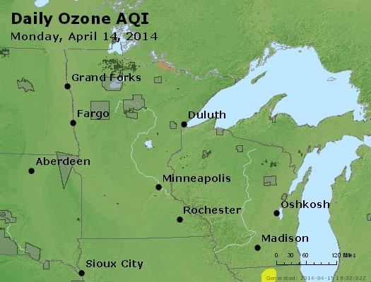 Peak Ozone (8-hour) - http://files.airnowtech.org/airnow/2014/20140414/peak_o3_mn_wi.jpg