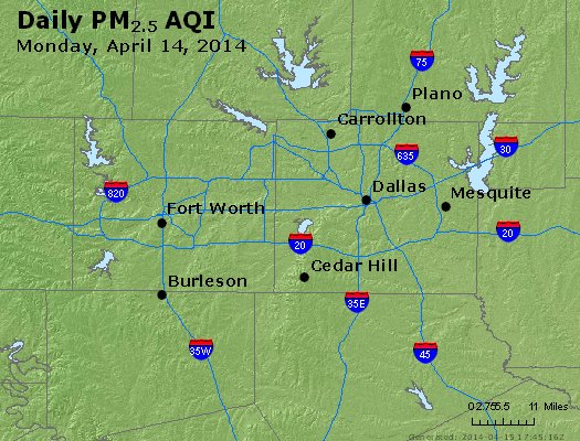 Peak Particles PM<sub>2.5</sub> (24-hour) - http://files.airnowtech.org/airnow/2014/20140414/peak_pm25_dallas_tx.jpg