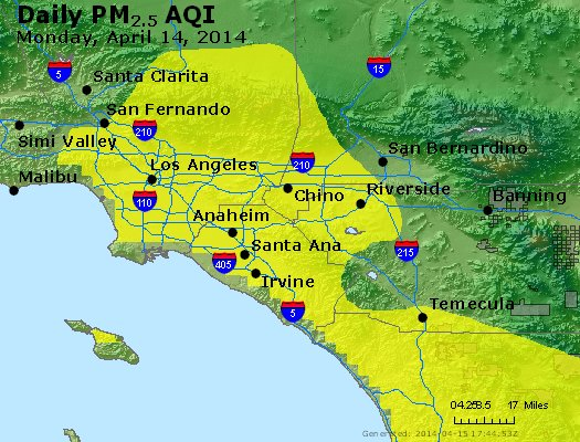 Peak Particles PM<sub>2.5</sub> (24-hour) - http://files.airnowtech.org/airnow/2014/20140414/peak_pm25_losangeles_ca.jpg