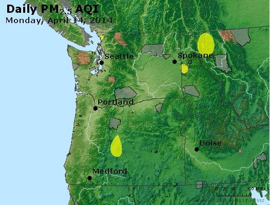 Peak Particles PM<sub>2.5</sub> (24-hour) - http://files.airnowtech.org/airnow/2014/20140414/peak_pm25_wa_or.jpg